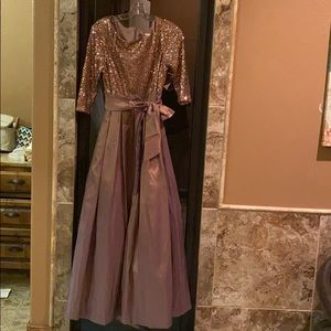 jessica howard iridescent purple and gold gown